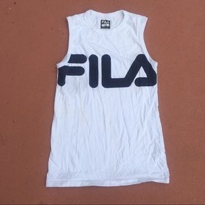 White with blue writing Fila tank top